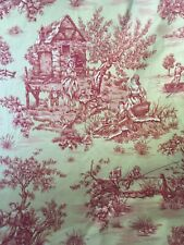Textiles Art Film Fabric Pastoral Toile Burgundy On Beige Almost 4yds