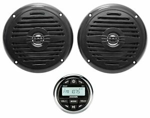 "KICKER KMC2 Gauge Hole Digital Media Bluetooth Receiver+(2) 5.25"" Black Speakers"