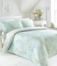 YASMINA DUCK EGG FLORAL LEAF DOUBLE BED DUVET COVER & PILLOWCASE BEDDING SET