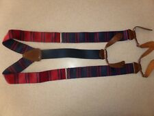 Navy Red Stripe Button Fittings Suspenders Braces One Size