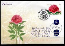 Pfingstrose. FDC-Brief nach BRD. Lettland 2010