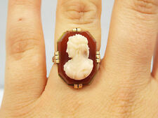 Antique 14K Yellow Gold  Carved Carnelian Cameo Ring, size 6 5/8