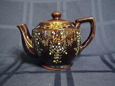 Vintage Japanese Moriage Redware Tea Pot- Hand Painted- Ceramic- Marked Japan