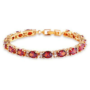 Fashion Woman Exquisite Red Oval Zircon Rose Gold Bracelet Jewelry Gift