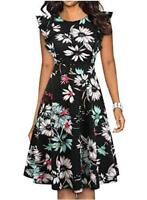 LunaJany Women's Vintage Ruffle Fit and Flared Swing, Black Floral, Size Small z