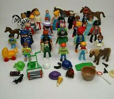 Huge Playmobil Lot Figures People Kids Horse Zebra Geobra Lot B