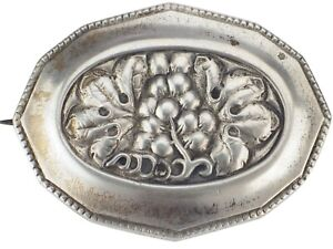 Jugendstil 800 Silber Florale Weintrauben Damen Brosche!