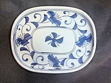 NEW Porcelain Ceramic Plate White Blue Spiral Flower Design Home Decor Plate