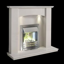 WHITE MARBLE CURVED SURROUND MODERN ELECTRIC FIRE PEBBLES FIREPLACE SUITE LIGHTS