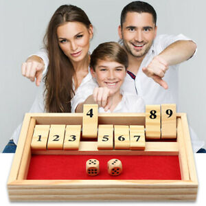 Kids Adult 2 Players Shut The Box Family Board Game Wooden Traditional Pub Gift