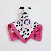"Gerber Baby Girls Security Blanket Plush Lovey Black & White Puppy 12"" Pink Trim"