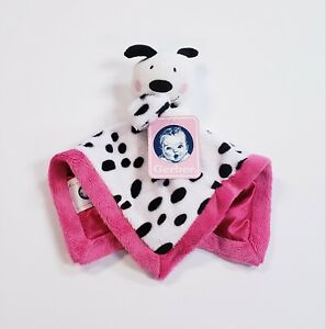 "Gerber Baby Girls Security Blanket Plush Lovey Black & White Puppy 12"" Pink Trim"