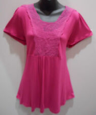Top 2X Plus Tunic Pink Embroidered Lace Neck Soft Stretch Rayon Tee NWT DC560