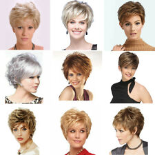 Stylish Vogue Pixie Ombre Short Wigs Brown Blonde Curly Wavy Hair For Women