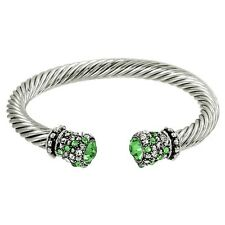 Crystal Tip Bracelet Twisted Metal Cuff Silver Lt Grn Pave Stone Chunky Cable