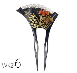 JAPANESE Maki-e style KANZASHI HAIRPIN STICK COMB Iris flower AYAME Hagi Bamboo
