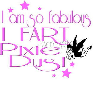 IRON ON TRANSFER Cheeky tinkerbell pixie dust fart 13x11cm