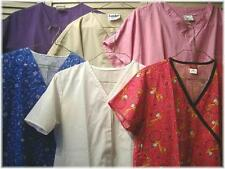 """6 PC Assorted Scrub Tops Lot ~ Small to Medium  ~ Prints & Solids 40"""" - 42"""" bust"""