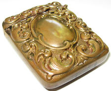 ANTIQUE ART NOUVEAU ORNATE BRASS SWIRLS MATCH SAFE & MATCHES