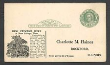 1925 POSTAL CARD ROCKFORD IL CHARLOTTE HAINES SEED GROWER CATALOG UNPOSTED