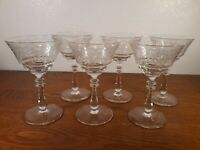 6 Bryce Crystal Needle Etched Champagne Tall Sherbet Glasses 5 3/4