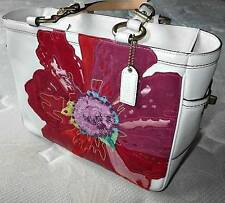 Coach Ltd Ed Poppy for Peace White Leather Red Floral Gallery Tote Purse Bag WOW