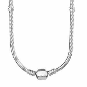 20 inch (50cm) Genuine Sterling Silver Snap Clasp Snake Chain Charm Necklace