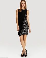 KAREN MILLEN 10  BEAUTIFUL BLACK NEW LACE jersey DRAPE DRESS 10  12