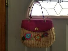 """Adorable staw purse with multicolored flowers 7"""" tall"""