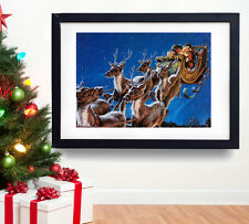 A3 XMAS POSTER Christmas Santa & Reindeer Vintage New Year Gift Wall Decoration