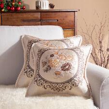 Pair Beige Cream Floral Woven Vintage Retro Country Farmhouse Cushion Covers