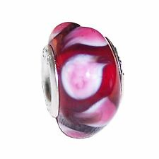 Red Pink Teardrop Pattern Murano Glass Bead for Silver European Charm Bracelets