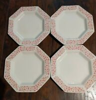 "4 Independence Ironstone Interpace Japan Pink Floral ""Mary Jane"" Salad Plate"