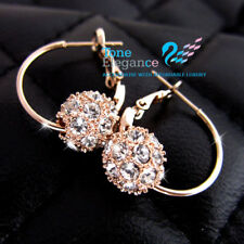 9ct 9k gold GF solid ball hoop wedding earrings made with swarovski #BO31