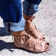4e2c0223d7f Zara Nude Real Leather Roman Gladiator Lace Up Sandals EU 37 UK 4