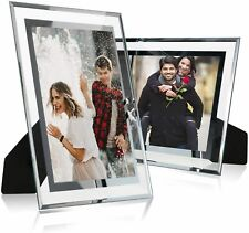 Glass Picture Frame Photo Display Stand Tabletop Mirrored 8x10 Pack of 2 Silver