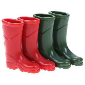 1Pair 1/12 Dollhouse Miniature Rubber Rain Boots Home Garden Yard Decor &DB