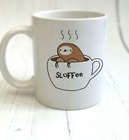 Cute Sloth Print - 'Sloffee' Mug & Coaster Gift - Cup Set - Cup - Coffee