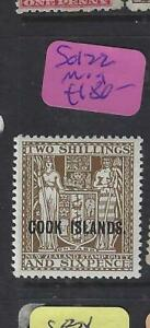 COOK  ISLANDS (P3003BB)  2/6 ARMS ON NZ  SG 122   MOG