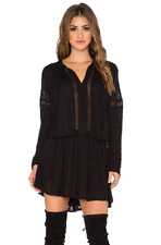 FREE PEOPLE Revolve Nomad Peasant Long Sleeve Mesh Inset Dress  Black $148 XS