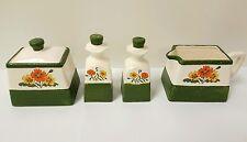 Vintage Table Serving Set Salt Pepper Creamer Sugar Bowl Garden Green Flowers