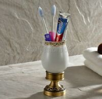 Antique Brass Bathroom Ceramic Dish Toothbrush Holder Set Deck Mounted qba498