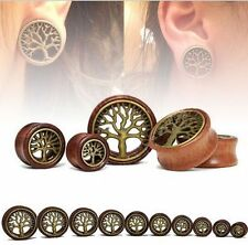 New Lady Wood & Brass Tree of Life Tunnels Muscle Stretching Earring Ear Plugs