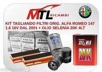 KIT TAGLIANDO FILTRI ORIG. ALFA ROMEO 147 1.6 DAL 2001 + OLIO SELENIA 20K 4LT