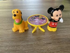 Fisher Price Disney Little People Mickey Mouse & Pluto Toy Figure Lot Of 2