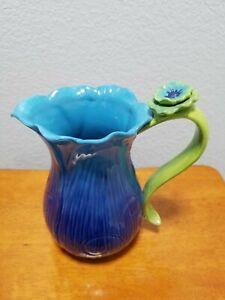 Grasslands Road Ceramic Pitcher Blue Green Flower Floral