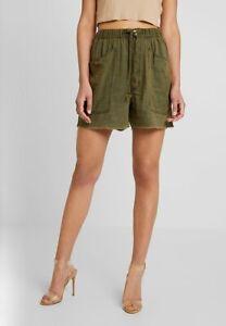 Free People Cut Off Elasticated Waist Linen Blend Shorts Khaki Green XS UK 6 NEW