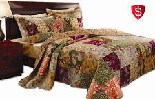 3 Piece PC King Size Quilt Set Reversible 100% Cotton Bedspread Coverlet Bedding