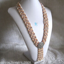 """27-31"""" 5-6mm White Pink Lavender 4Row Freshwater Pearl Necklace With Tassel A-20"""