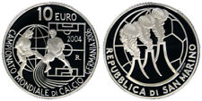 10 EURO 2004 FIFA WORLD CUP 2006 SAN MARINO ARGENTO SILVER PROOF #2657A